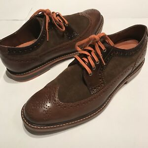 Cole Haan Men's Cooper Square Wingtip Shoes Brown Leather Suede Orange Size 10