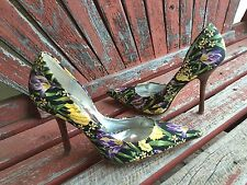 *bLaCk FloRaL 7 GUESS Pointy Toe CARRIE Stilettos High Heels PUMPs Fabric Yellow