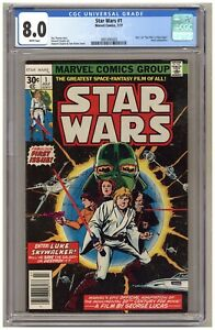 "Star Wars #1 (CGC 8.0) ""A New Hope"" adaptation part 1; 1977; Newsstand B570"