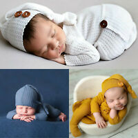 Newborn Baby Photography Prop Footed Romper Button Romper Overalls Hat Set UK