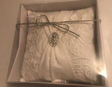 Cream Lillian Rose Bridal Wedding Ring Bearer Pillow Lace Bling NIB