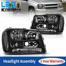 For 2002-2009 Chevy Trailblazer Black Housing Clear Corner Headlights Head Lamps