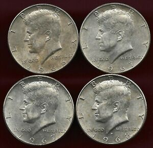 Usa 1966-1968  lot of 4 X 1/2 dollar Kennedy silver coins