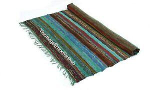 Indian Green 4x6 Ft Hand-Woven New Chindi Rug Floor Yoga Mat Area Rug Mat Carpet