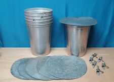 3 MAPLE SYRUP Aluminum Sap Buckets + Lids OLD GRIMM COVERS + TAPS Spiles Spouts