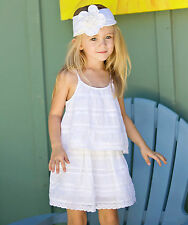NWT Mimi & Maggie Girls' Crochet Trim Dress in White  ~ Size 4