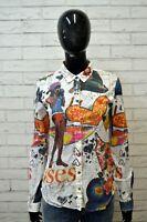 Camicia DESIGUAL Donna Taglia S Maglia Blusa Shirt Woman Hemd Cotone Floreale