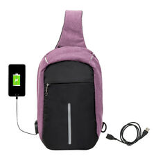 Anti-theft Backpack Laptop Sport Unisex Travel Haking Oxford Bags USB Charger 04 Purple