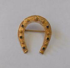 Horseshoe Brooch Black Enamel Accents Vintage Solid 14K Gold Cannetille Filigree