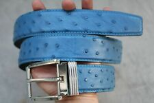 LUXURY Sky Blue Genuine Ostrich Leather Skin Men's Belt - W 1.5 inch