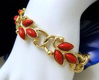 Vintage Trifari TM Vintage Bracelet Red Lucite Sets Gold Tone Links