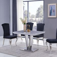 Riccardo Grey Marble & Chrome 1.2m Rectangular 5 Piece Set (Black Liyana Chairs)