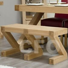 Zouk solid oak dining room furniture small seating bench