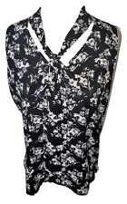 Ladies Floral Top With Tie Up Neck Shirt Summer Black Size 6 Polyester PRIMARK