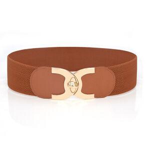 Fashion Waist Belts Women Lady Solid Stretch Elastic Wide Belt Dress Waistband