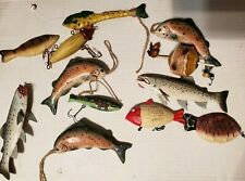 lot of 12 Fishing Lure Ornaments Wooden/Metal/Plastic