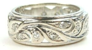 Antique Art Deco Vintage Eternity Wedding Band 14KW Ring Sz 4.25 UK-H1/2 EGL USA