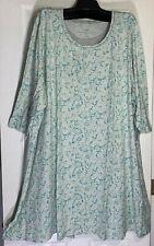 NEW J. Jill 3X Ultrasoft Shirred-Back Sleep Gown/Dress scoop neck green Printed