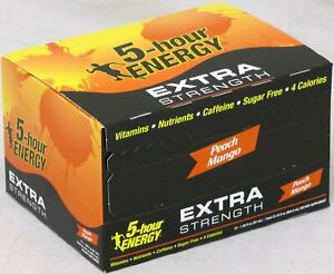 5 Hour Energy Shot Peach Mango Extra Strength 12 Ct 1.93 oz Ships Free Hr Five