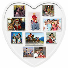 10 Photo Picture Frame Anniversary Collage White Heart Gift Multi Ready To Hang