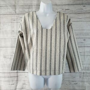 Club Monaco Womens Lilani Pullover Sz Small Gray Striped Kangaroo Pocket