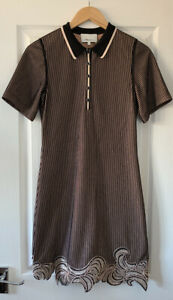 3.1 PHILLIP LIM BLACK STRIPE POLO SEQUIN EMBELLISHED T-SHIRT DRESS S SMALL