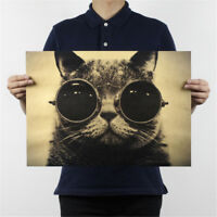 cat sunglasses kraft paper bar poster retro poster decor painting wall sticker H