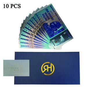 10 PCS/Lot 100 Trillion Dollar Zimbabwe 24k Silver Color Banknote With COA