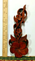 "1 Small Hard Wood Flower, 12"" Height, Hand Crafted Wall Decor, Made in Bali"