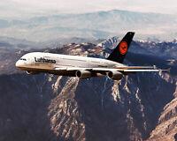 LUFTHANSA AIRBUS A380-800 OVER MOUNTAINS 11x14 SILVER HALIDE PHOTO PRINT