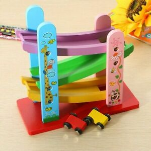 Baby Kids Wooden Ladder Gliding Car Wooden Slot Track Car Toy Educational Toys