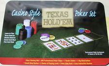Del Texas HOLD 'EM CASINO Style Poker Set Poker Fiches da Poker Gioco Tappetino carte da gioco
