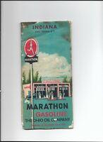 Vintage 1956  MARATHON GASOLINE  Map Indiana THE OHIO OIL COMPANY