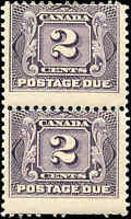 1906 Mint H Canada F+ Scott #J2 Pair 2c Postage Due Stamps