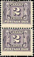 1906 Mint Canada F+ Scott #J2 Pair 2c Postage Due Stamps Hinged