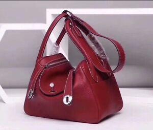 26cm 30cm Pebbled Italian Leather Lindy Style Tote Hobo Handbag Shoulder Bag