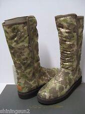 UGG COLLECTION ABREE WOMEN TALL BOOTS METALLIC GREEN CAMO US7/UK5.5/EU38/JP24