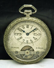 1900s 8 DAY Hebdomas Wyss Freres SWISS POCKET WATCH 6J RARE Tourbillon N. SILVER