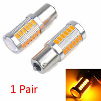 2x Amber Yellow P21W 1156 BA15S LED Bulb 5730 33SMD Car Turn Signal Light bulb Y