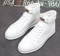 Korean Mens High Top Hook&loop Athletic Sneakers Breathable Skateboard Shoes