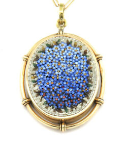 Blue Micro Mosaic Vintage French Pendant + Chain 19,6 inch-50cm. Yellow Gold18k.