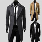 2014 New Men's Slim fit Long trench Suit Coat Jackets Stylish Military Outerwear