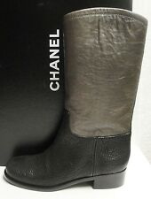 Chanel Classic CC Logo Black Khaki Leather Mid-Calf High Boots Shoes 38