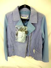 IMAN Platinum Genuine Suede Soho Jacket and Sexy Chic Scarf - M - Blue  4A31H