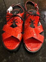 Jeffrey Campbell Red Riley Leather Slingback Sandles, Size 9, NEW!