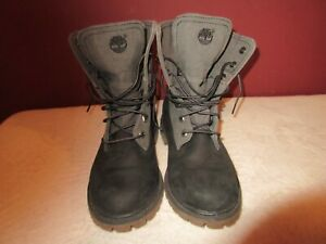 Timberland 7'' Leather / Canvas Waterproof Grey / Black Boots A14S1 Women's 7.5