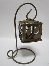 Votive Candle Lantern Table Top Metal Holder Cute Birdcage Box Shape Light Stand