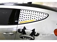 Glass Sports Plate C Pillar White Yellow For 2011 2017 Hyundai Veloster Turbo