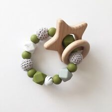 Baby Silicone Ring - Teething Rattle - Crochet Teether - Chew Toy - Olive Green