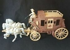Vintage Ideal Roy Rogers Stagecoach Plastic Driver Two Horses Rifle 1950's